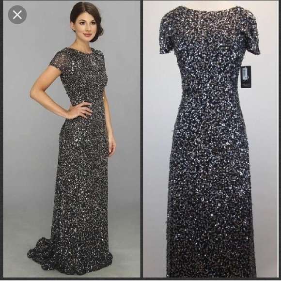 Adrianna Papell Dresses | Charcoal Short Sleeve Beaded Gown | Poshmark